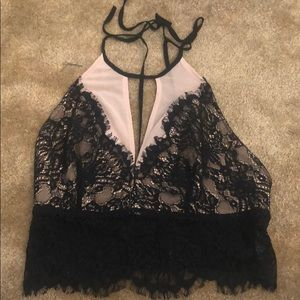 Urban Outfitters Black Lace Halter Crop Top